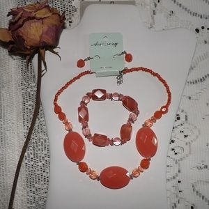 Jewelry - Coral Necklace Earrings Bracelet New!